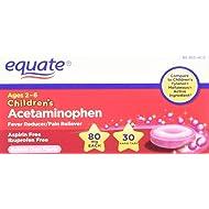 Equate, Children's Acetaminophen 80 mg, Bubblegum Flavor, Ages 2-6, 30 Tablets, Meltaways