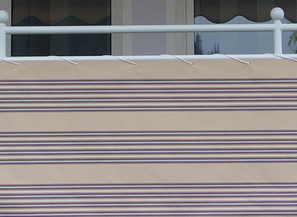 Angerer Balkonbespannung Dralon Nr. 8300, Braun Beige, 90 cm hoch, Länge  8 Meter
