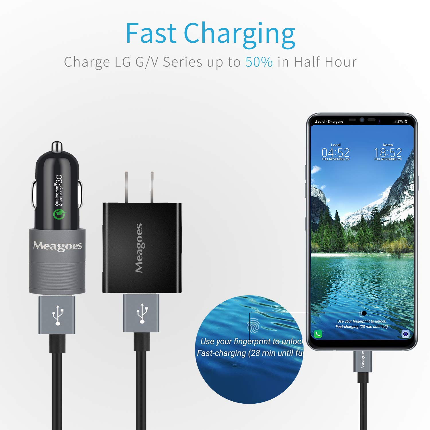 Meagoes Fast Charger Kit Rapid USB C Quick Charge 3.0 Wall Charger /& Car Charger Bundle with 2 USB Type C Cord V50 ThinQ//V40 ThinQ//V35 ThinQ//V30//V20 Android Phone Compatible LG G8 ThinQ//G7 ThinQ//G6