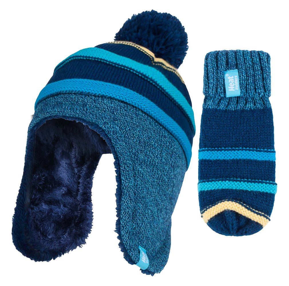 Heat Holders - Childrens Boys Winter Warm Fleece Lined Thermal Pompom Bobble Hat and Mittens Set with Ear Flaps CCM2P4)