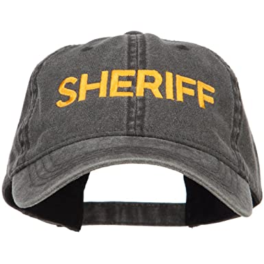 8502f73970a E4hats Sheriff Embroidered Washed Buckled Cap - Black OSFM at Amazon ...