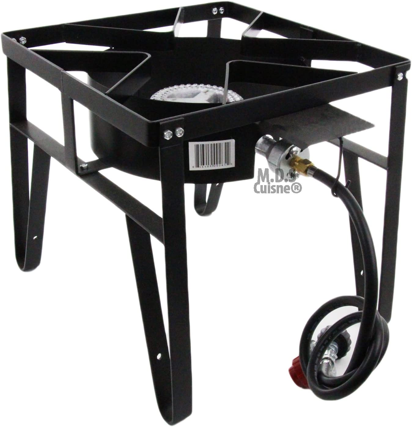 M.D.S Cuisine Cookwares Single High Pressure Gas Burner Square Patio Outdoor Stove Propane Camping Heavy Duty