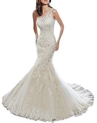 XUYUDITA Un hombro de encaje rebordear sirena vestidos de novia Vestidos de novia: Amazon.es: Ropa y accesorios