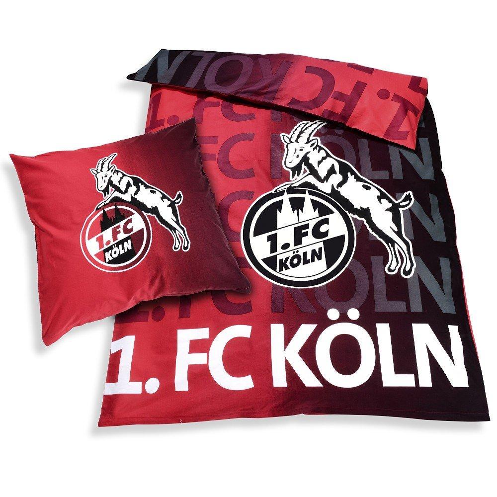 Unbekannt 1. FC Köln Bettwäsche Leuchtend 2-teilig (Bezug, Kissen) - Plus gratis Lesezeichen I Love Köln 1.FC Köln