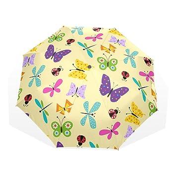 GUKENQ Mariposa Ladybug On Amarillo Viaje Paraguas Ligero Anti UV Sun Rain Umbrella Hombre Mujer Niños
