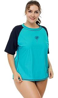 2ccd49014431e Vegatos Womens Plus Size Rash Guard Short Sleeve UPF 50+ Rashguard Swimwear  Top