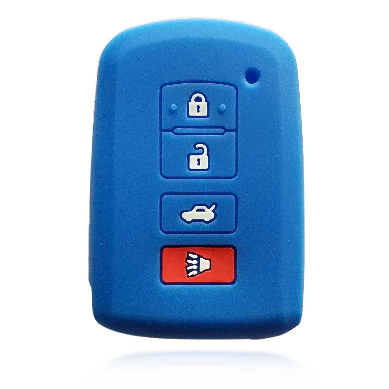 ドブレフ4ボタンブラックシリコンカバーホルダープロテクター用リモートスマートキーケースToyota Camry Highlander rav4 ブルー 3084 B072C4TPQT ブルー ブルー