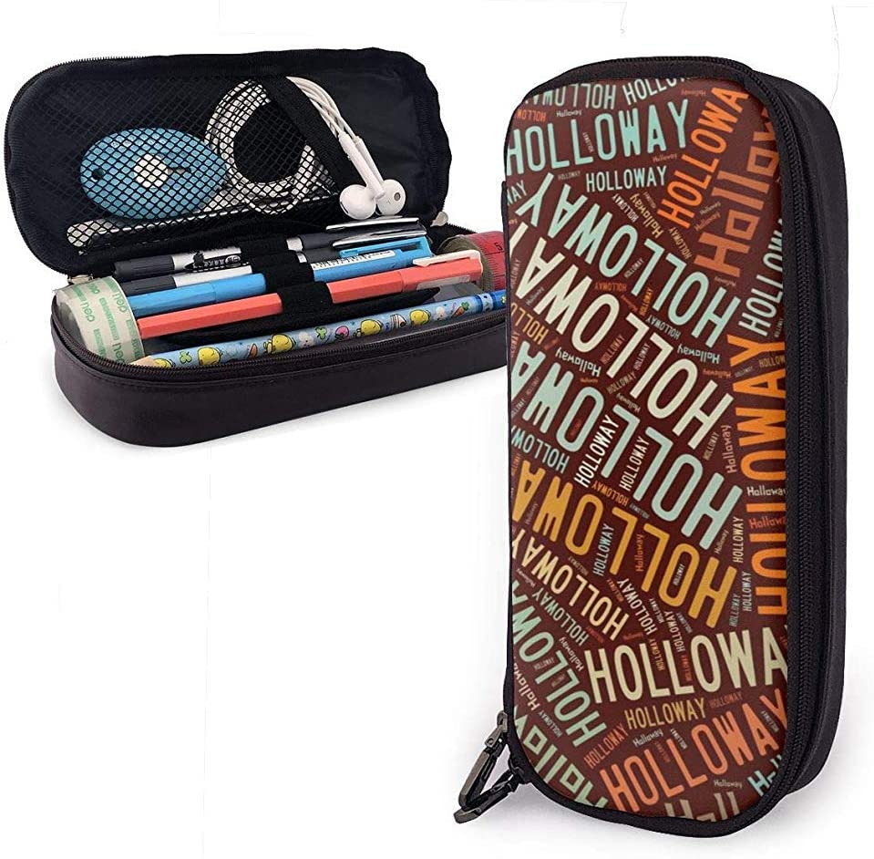 Holloway - Apellido americano Estuche de cuero de gran capacidad Estuche de lápices Estuche de lápices Papelería Organizador Bolígrafo escolar Bolso de papelería para estudiantes
