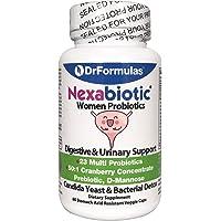 DrFormulas Women Probiotics with Cranberry, D Mannose, Prebiotic Fiber | Nexabiotic for Vaginosis, Yeast, Weight Loss & Urinary Health w/L Reuteri, Lactobacillus Acidophilus, 60 Capsules