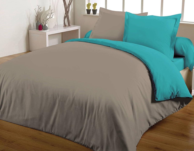 Maxi housse de couette bicolore 240X260 100/% coton 57 fils Turquoise//Taupe