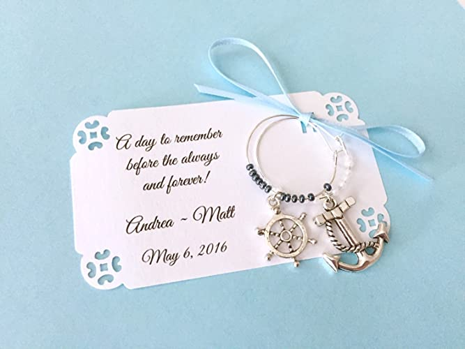 1 to 150 nautical theme wine charm favors for bridal shower or wedding favors 2