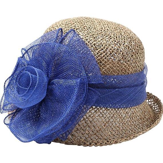 Sombrero ZHIRONG Hilo Flores Paja Playa para Mujeres al Aire Libre Gorra de  protección Solar de Verano Casual Mujeres Beige Azul Rojo Violeta Visera  Anti-UV ... 3637c331d59b