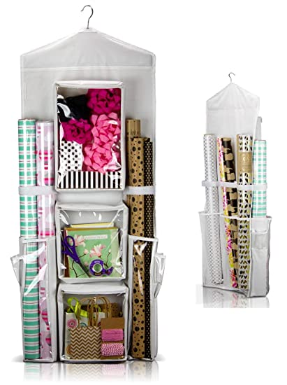 Bon CARRIEBAX Double Sided Wrapping Paper Storage For 40 Inch Gift Wrap Rolls    Easy Hanging Closet