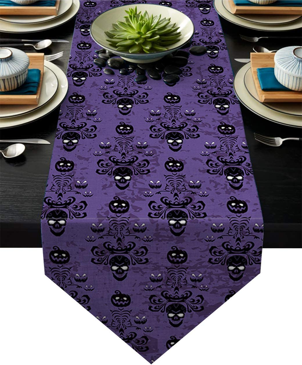 Chic D 90inch Table Runner, Halloween Haunted Cotton Linen Table Setting Decor for Wedding Party Holiday Dinner Home, Machine Washable.
