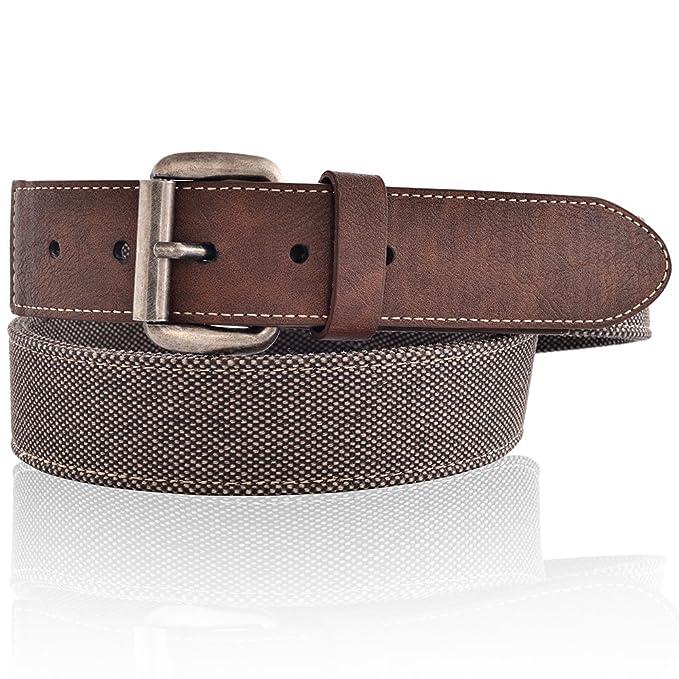 c5e0eae1 LUCHENGYI Cinturones Hombres Tela de Lona y Cuero en Marrón Vintage Casual  para Pantalones Vaqueros Ancho de 40mm