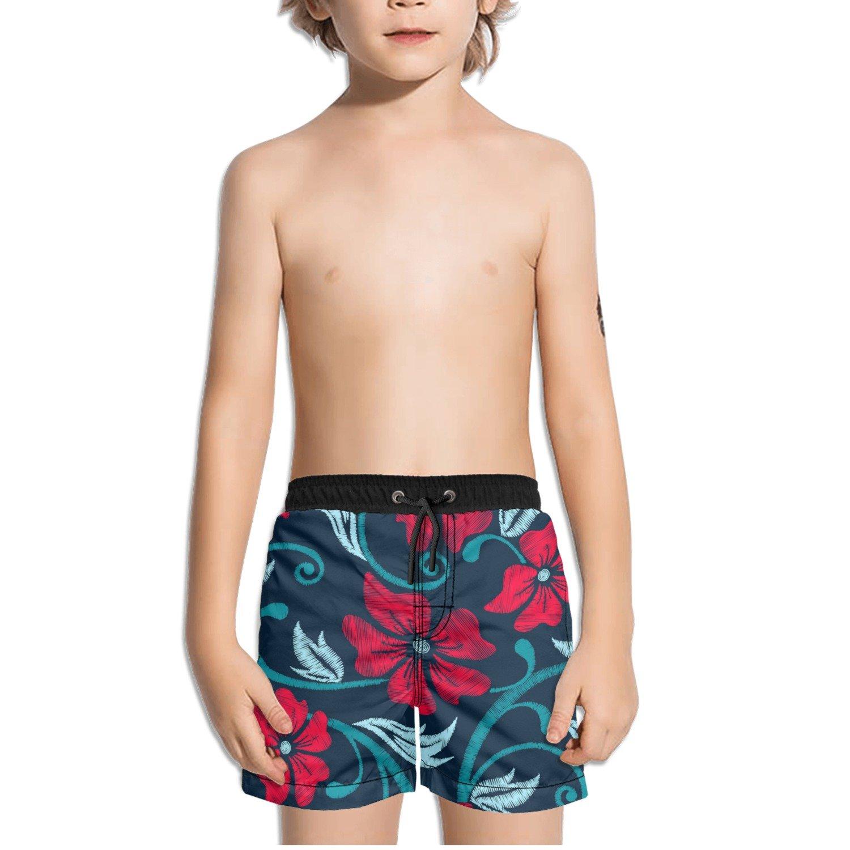 Ouxioaz Boys Swim Trunk Red Tropical Floral Flower Beach Board Shorts