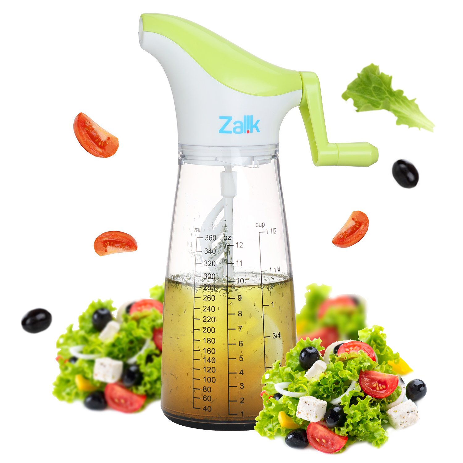 Salad Dressing Shaker Mixer Bottle Cup - 200% Better Mixing With Emulstir Blender - 400ml Heavy Duty Salad Maker with Pourer - Essential Kitchen Tool for Dressings Sauces Marinades & Dips - by Zalik