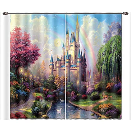 LB Teen Kids Decor Collection,2 Panels Room Darkening Blackout Curtains,Rainbow  On The