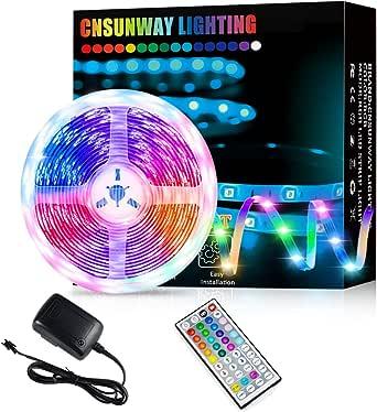 Led Strip Lights, 5M RGB Color Changing Led Strip Lights with 44 Keys RF Remote Controller 5050 LED Rope Lighting Strips for Bedroom Room TV Party Wedding