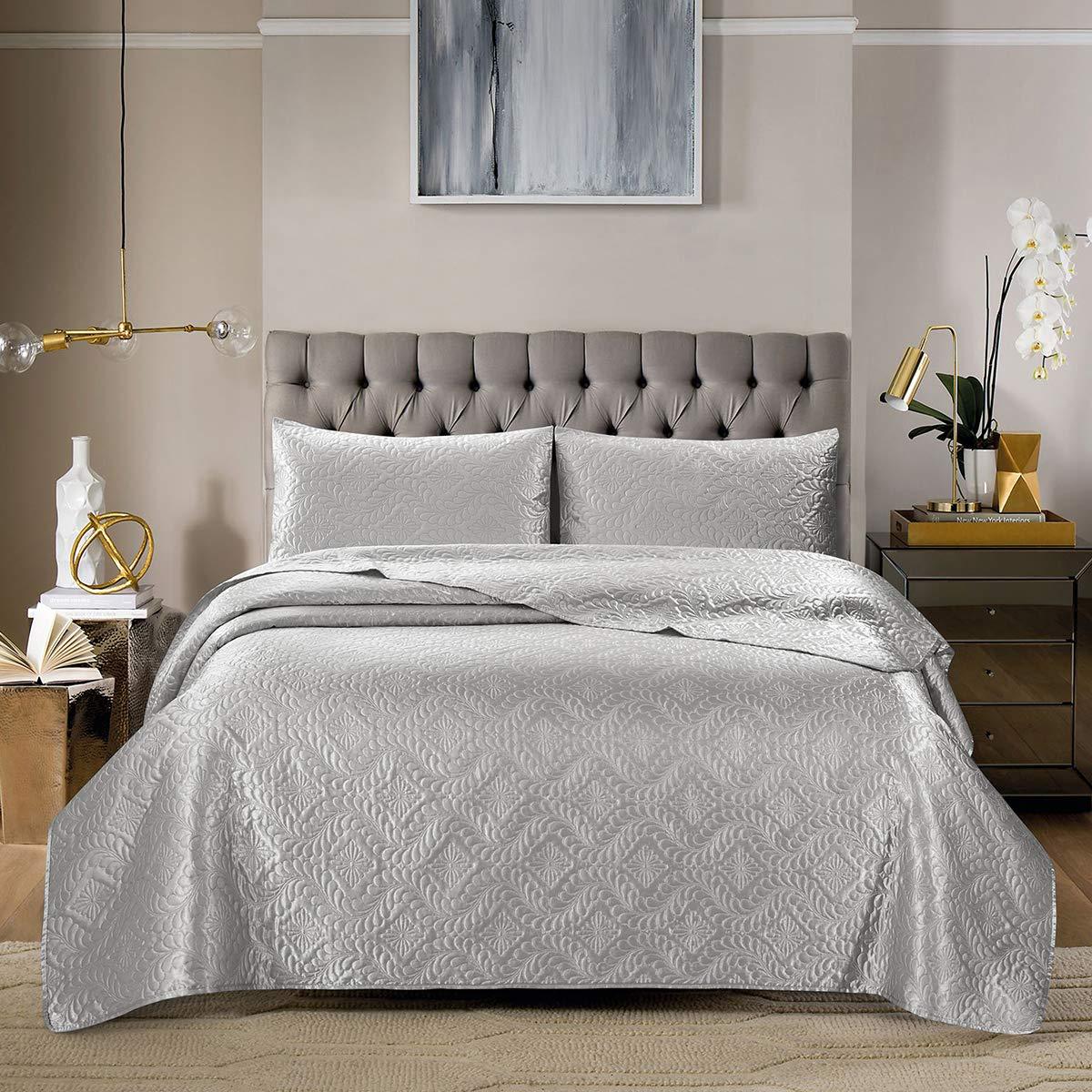 ARTALL King Size Bedspread Teal Blue Silky Super Soft 3 Piece Deep Pocket Satin Solid Bed Quilt Coverlet