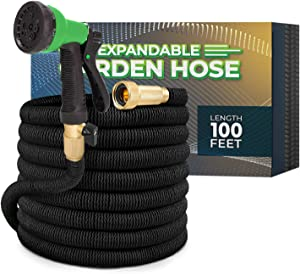 Joey's Expandable Garden Hose with 8 Function Hose Nozzle, Lightweight Anti-Kink Flexible Garden Hoses, Extra Strength Fabric with Double Latex Core (100 FT, Black)