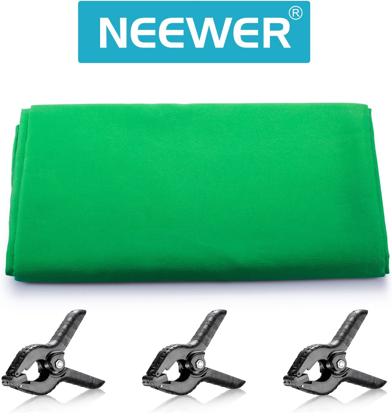 Neewer 9 x 15 feet//2.7 x 4.6 Meters Green Chromakey Muslin Backdrop Background Screen with 3 Clamps for Photo Video Studio Photography