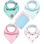 Baby Bandana Drool Bibs for Girls with 2 Burp Cloths, 6-Pack Gift Set for Drooling and Teething, 100% Organic Cotton, Soft, Absorbent, Hypoallergenic - Darling Set  By Zoozik