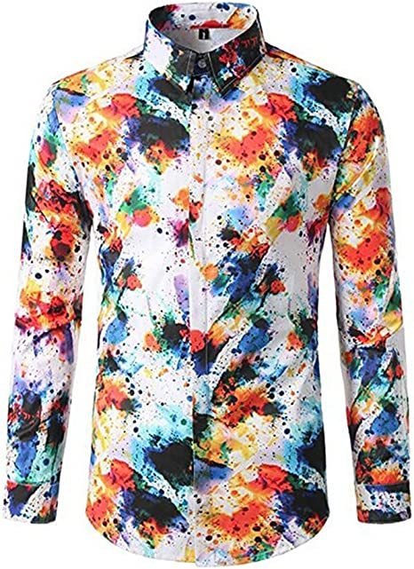 iNoDoZ Mens World Map Print Long Sleeve Shirts Slim Fit Button Shirt Casual Top Blouse