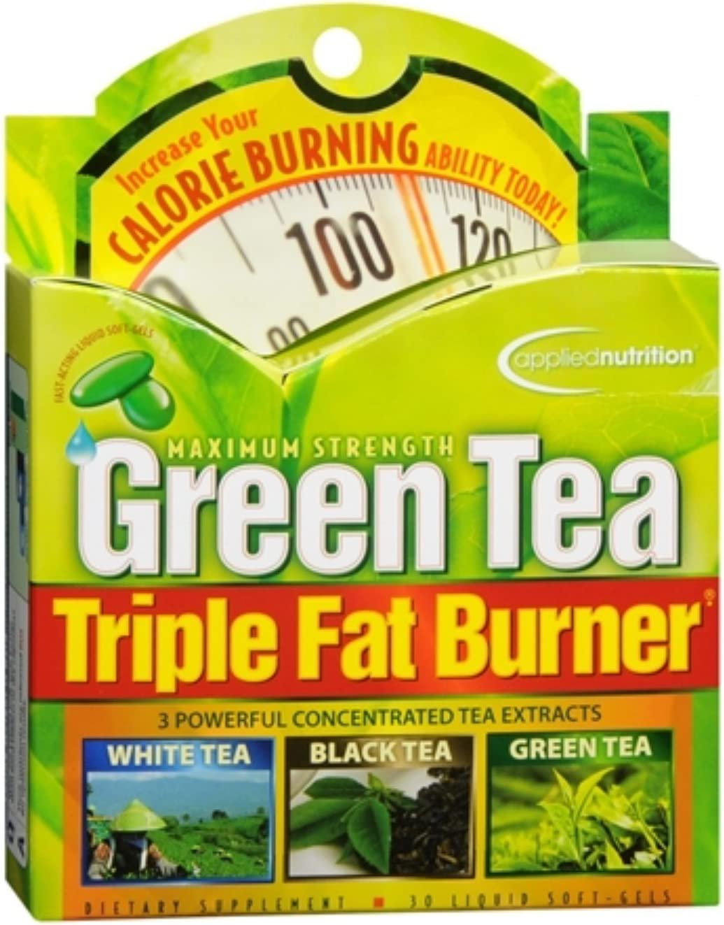 Applied Nutrition Green Tea Triple Fat Burner Liquid Soft-Gels 30 Soft Gels (Pack of 4)