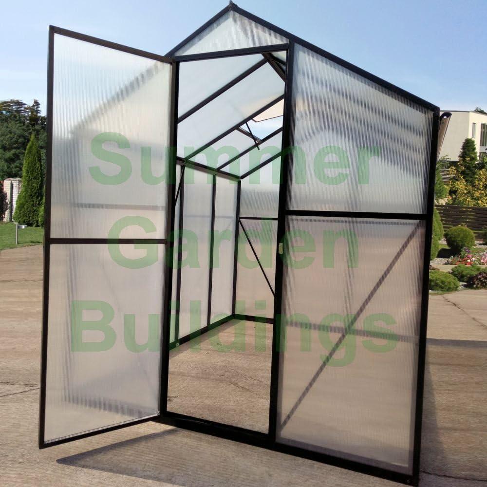 Fácil ajuste a presión Asamblea policarbonato invernadero – negro, clip libre, bisagra de la puerta: Amazon.es: Jardín