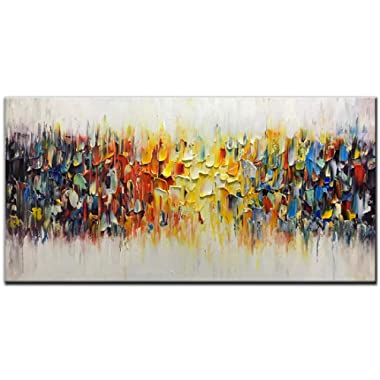 Amei Art Paintings,24x48inch 3D Hand-Painted On Canvas Abstract Colorful Melody Oil Painting Modern Contemporary Artwork Home Decor Wall Art Wood Inside Framed Ready to Hang for Living Room