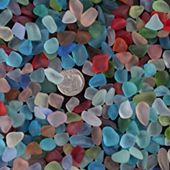 FidgetKute 200pc Sea Beach Glass Beads Mixed Colors Bulk Blue Jewelry Pendant Decor 10-16mm