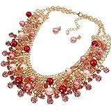 YAZILIND Frauen herrliche Gold überzogenes Mehrschichtige funkelnde Kristall Imitatetion Perle Chunky Blase Lätzchen Kragen Halsketten Ohrring Set