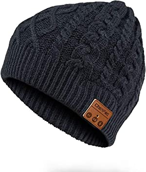 CCHKFEI Bluetooth 5.0 Beanie Hat, Unisex Beanie Bluetooth Musical Hat with Speaker Mic Winter Sport Cap Warm & Comfortable for Gifts (Black Flower)