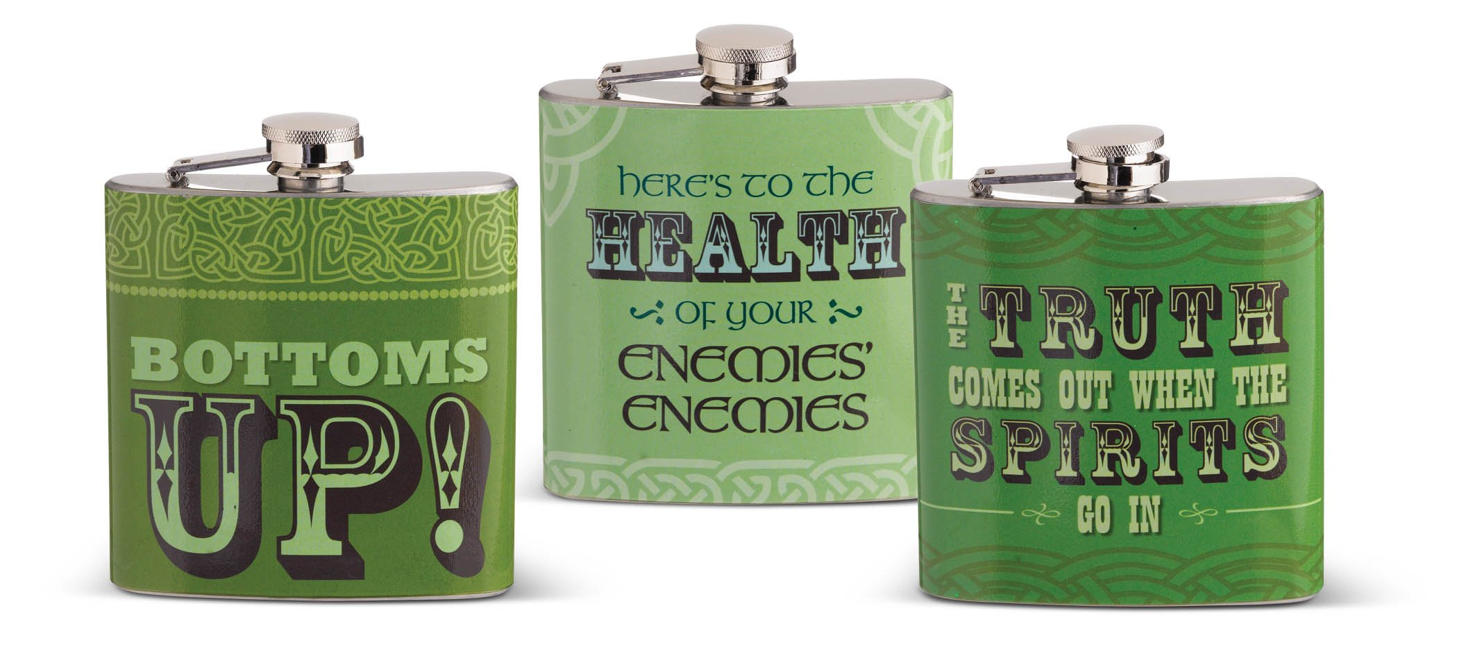 Grasslands Road 463898 Celtic Ceramic Gift Boxed Flask Assortment (15 Pack), Small, Green/Lime/Brown/Gold/Silver/Black