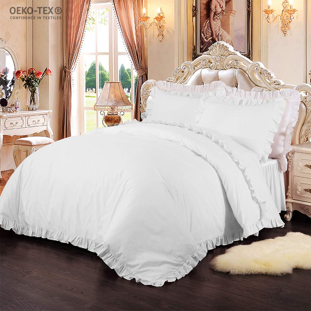 Simple/&Opulence 100/% Cotton Percale 250TC Pink Plain Flouncing Girl Bedding Set Queen Twin Quilt King Duvet Cover Set Including 1 Duvet Cover and 2 Pillowcases Pink,King YouthSky 13010405007