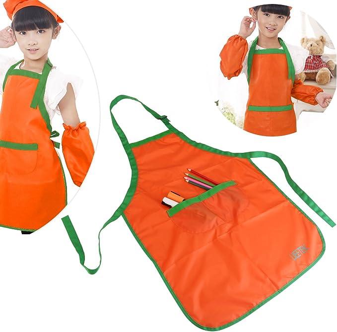 UEETEK Kinder Kinder wasserdichte Kunst Handwerk Kittel Sch/ürze f/ür DIY Malerei Zeichnung mit Sleevelet Orange