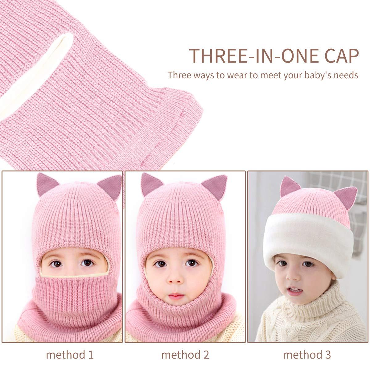 caldo knit beanie cap e sciarpa cerchio con fodera in pile per bambini ragazze 1-5 anni rosa Laelr bambini inverno cappello caldo e sciarpa set