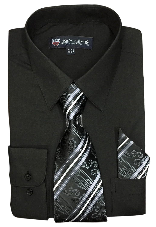 Fortino Landi Mens Long Sleeve Dress Shirt With Matching Tie And