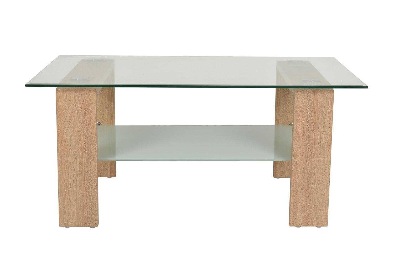 ts-ideen Design Tavolino da salotto Tavolo in vetro Tavolo basso Tavolo da caffè 100 x 60 cm