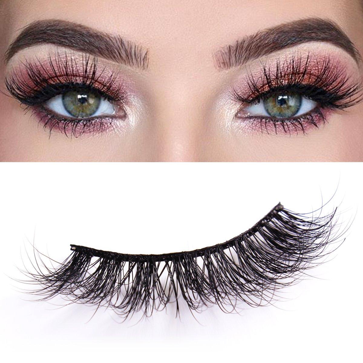 501b41eddf7 Amazon.com : 3D Mink Eyelashes Makeup Dramatic False Eyelashes Natural Look  Fluffy Long Reusable Falsies Eyelashes 1 Pair Pack Kelmall : Beauty