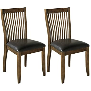 Ashley Furniture Signature Design - Stuman Dining Side Chair - Comb Back - Set of 2 - Brown Base and Black Upolstered Seat