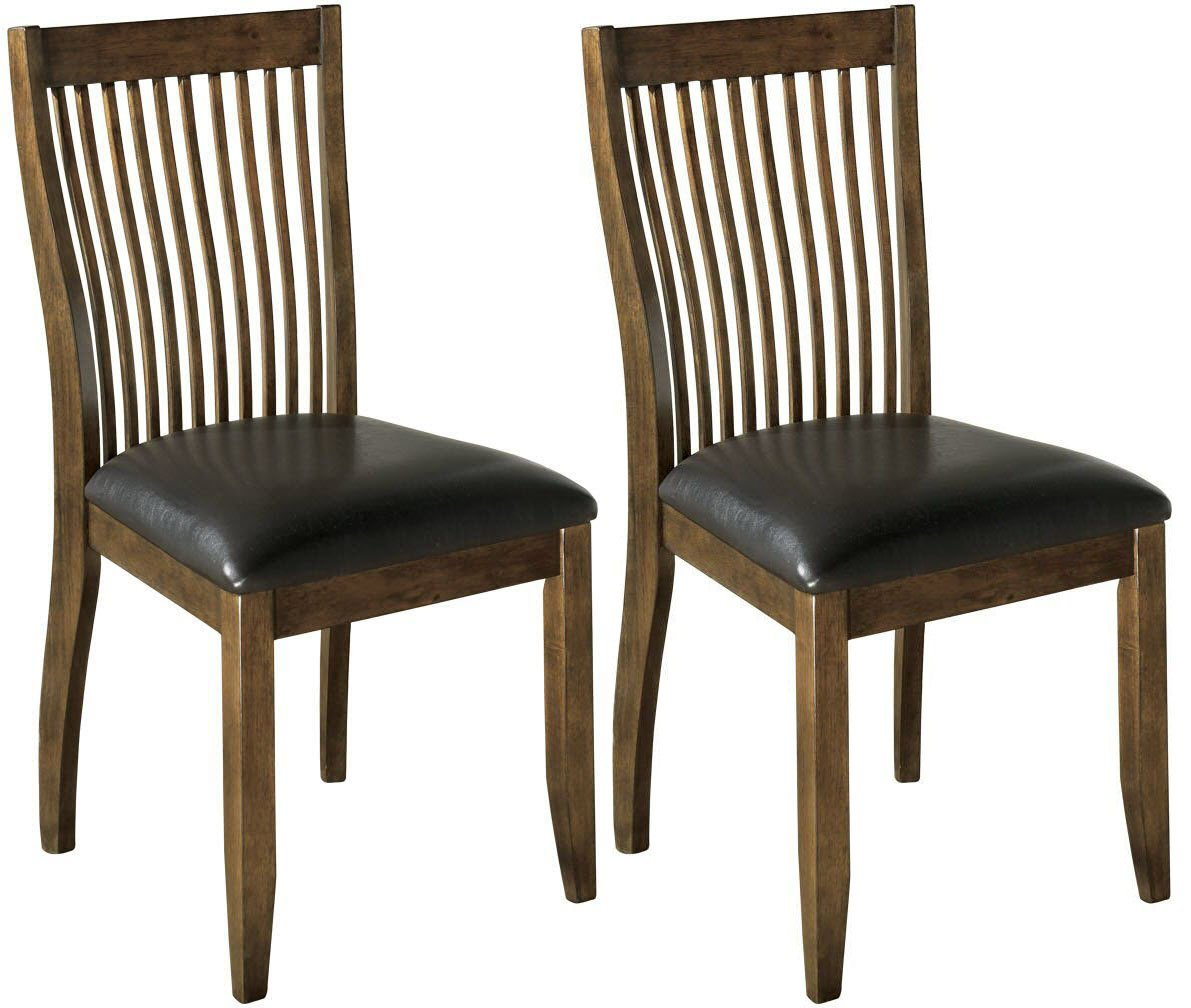 Signature Design by Ashley Centiar Dining Chair Set of 2, Black and Brown - SET OF TWO CONTEMPORARY DINING CHAIRS: The cool comb back of this dining chair merges seamlessly with the cushioned seat. Slightly angled back cradles you comfortably at the dinner table SIMPLE SILHOUETTE: Dining room chair crafted from wood PLUSH CUSHION: High-density foam seat cushion covered in cotton/polyester faux leather upholstery that repels stains and spills, and easily wipes clean - kitchen-dining-room-furniture, kitchen-dining-room, kitchen-dining-room-chairs - 71N6pZ7S81L -