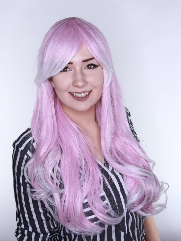 Prettyland Perruque Longue Rose Blond Blanc Frange Boucles Ondul/é Cosplay Lolita Travesti Carnaval Th/é/âtre C014