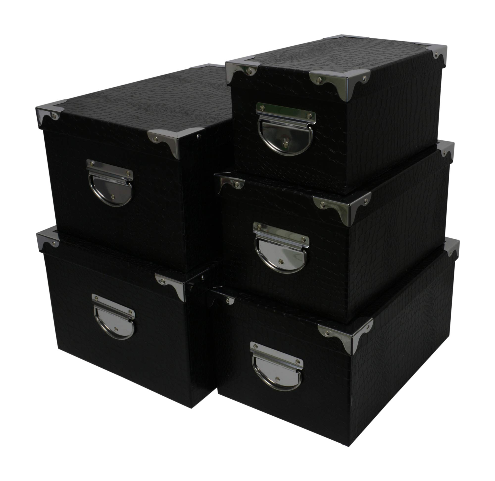 Kraft King Decorative Storage Boxes - Nested, Metal Reinforced Corners, Set of 5 Assorted Sizes (Black Faux Leather) by Kraft King
