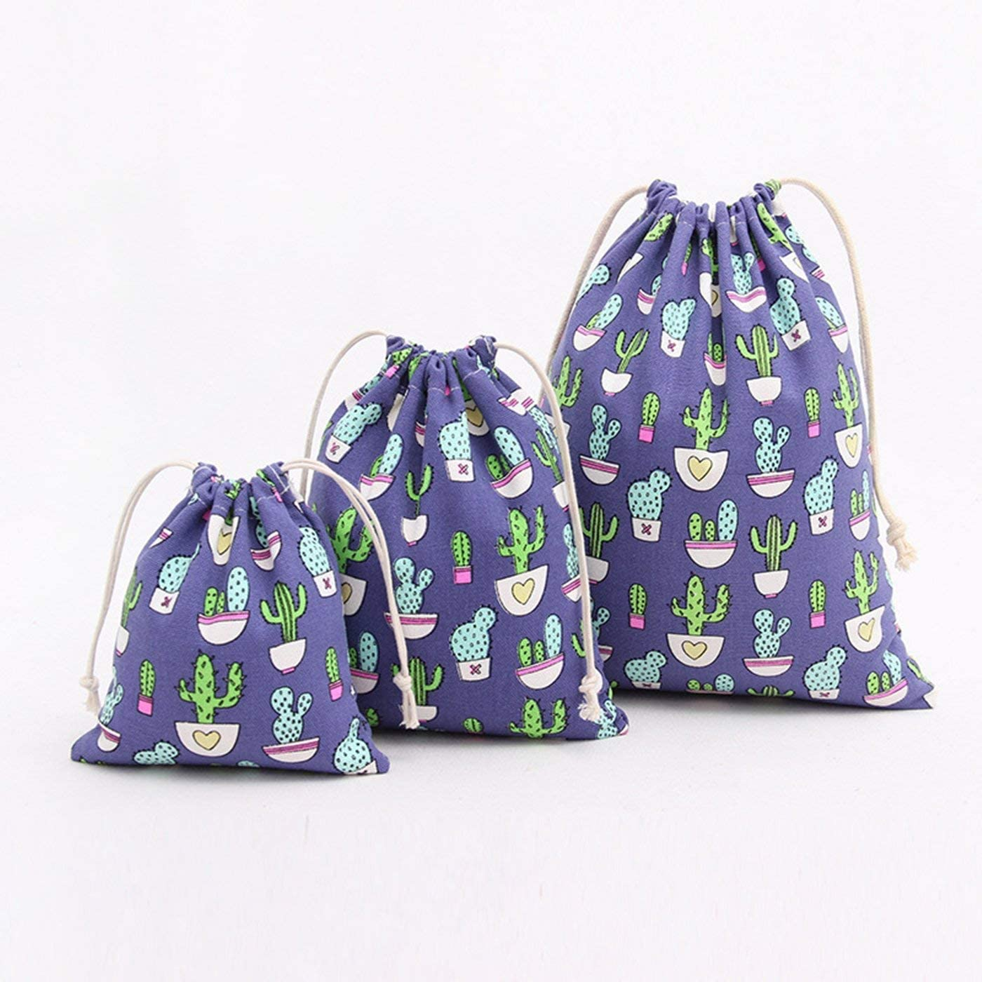 Large 25 x 30 cm, Medium 19 X 23 cm, Little 14 X 16 cm Amoyie 3 Pieces Drawstring Bag for Kids Stuff Cute Reusable Storage Bag for Home or Arts Supplies Carrier or Travel Cactus