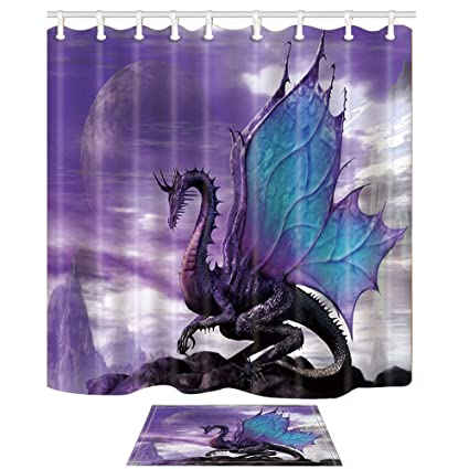 NYMB Medieval Fantasy Theme Purple Dragon 69X70in Mildew Resistant Polyester Fabric Shower Curtain Set 157x23