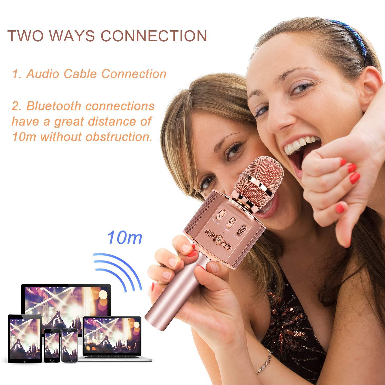 Dynamisches Licht Drahtlose Tragbares Handmikrofon mit Lautsprecher f/ür Erwachsene und Kinder Kompatibel mit Android IOS PC Ros/égold Tencoz Bluetooth Mikrophon mit Aufnahme Karaoke Mikrofon