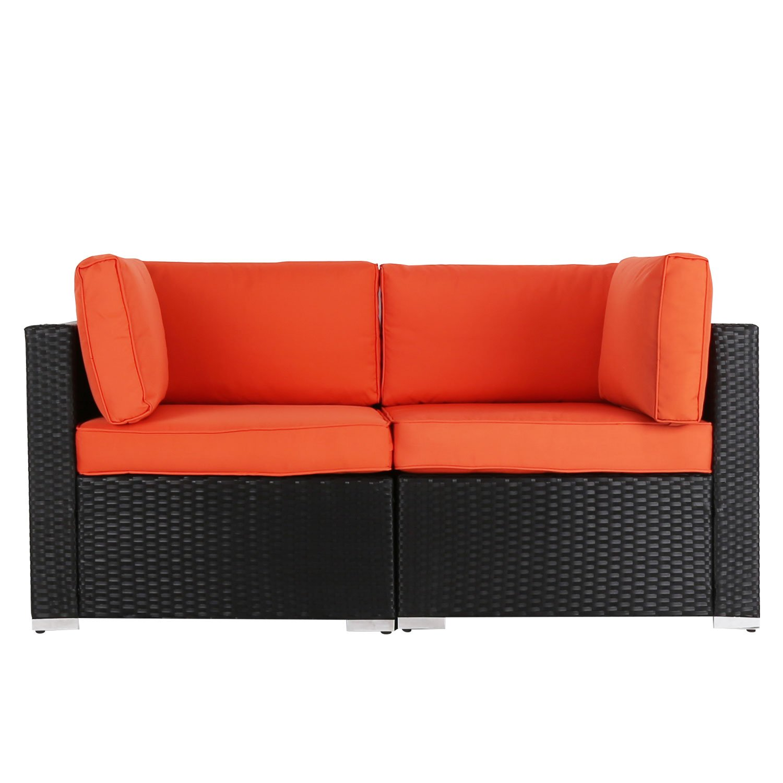 Pleasing Kinbor 2 Pcs Outdoor Patio Loveseat Garden Pe Rattan Wicker Furniture Sectional Sofa W Orange Cushions Beutiful Home Inspiration Aditmahrainfo