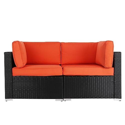 Kinbor 2 PCs Outdoor Patio Loveseat, Garden PE Rattan Wicker Furniture Sectional Sofa w Orange Cushions
